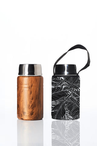 BBBYO Foodie insulated lunch container + carry cover - stainless steel - 750 ml - Black Leaf print