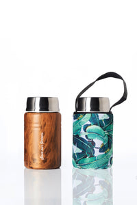 BBBYO Foodie  insulated lunch container + carry cover - stainless steel - 500 ml - Banana Leaf print