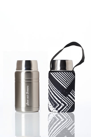 * Daily Deal - BBBYO Foodie insulated lunch container + carry cover- stainless steel - 750 ml - Circuit print