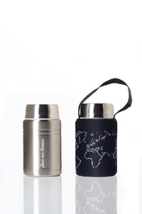 BBBYO Foodie  insulated lunch container + carry cover - stainless steel - 500 ml - Globe print