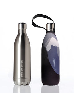 BBBYO Future Bottle + carry cover - stainless steel insulated bottle - 1000 ml - Black Wave print