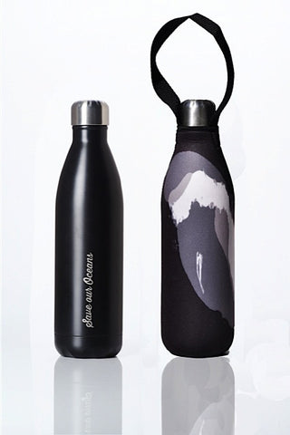 BBBYO Future Bottle + carry cover - stainless steel insulated bottle - 750 ml - Black wave print