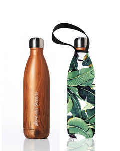 * Super Sale - BBBYO Future Bottle + carry cover - stainless steel insulated bottle - 750 ml - Banana leaf print