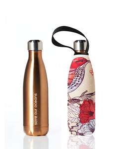 BBBYO Future Bottle + carry cover - stainless steel insulated bottle - 500 ml - Bird print