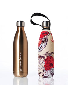 BBBYO Future Bottle + carry cover - stainless steel insulated bottle - 750 ml - Bird print
