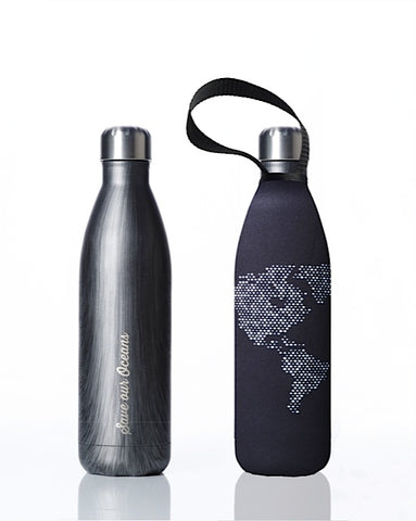 BBBYO Future Bottle + carry cover - stainless steel insulated bottle - 750 ml - Globe Lights print