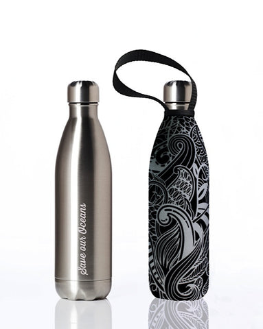 BBBYO Future Bottle + carry cover - stainless steel insulated bottle - 750 ml - Night Koru print