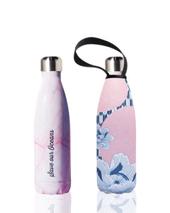 BBBYO Future Bottle + carry cover - stainless steel insulated bottle - 500 ml - Pink bloom print