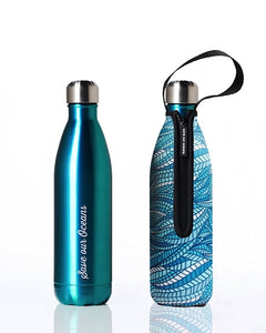 BBBYO Future Bottle + carry cover - stainless steel insulated bottle - 750 ml - Sealeaf print