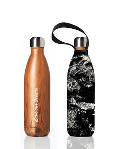 BBBYO Future Bottle + carry cover - stainless steel insulated bottle - 750 ml - Topo print