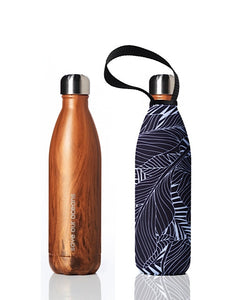BBBYO Future Bottle + carry cover - stainless steel insulated bottle - 750 ml - Black leaf print