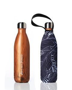 BBBYO Future Bottle + carry cover - stainless steel insulated bottle - 750 ml - Wood leaf print