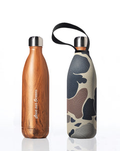Future Bottle + carry cover - stainless steel insulated bottle - 1000 ml - Woody print