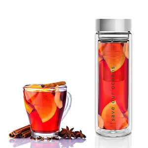 Glass is Greener double wall thermal tea flask + carry cover - 500 ml - Fan print