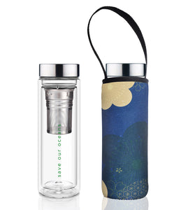 Glass is Greener double wall thermal tea flask + carry cover - 500 ml - Chacha print
