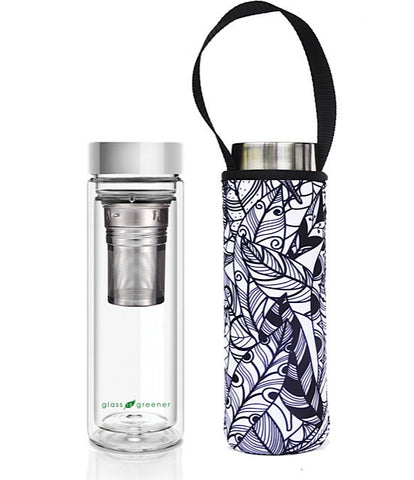 Glass is Greener double wall thermal tea flask + carry cover - 500 ml - Feather print