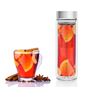 Glass is Greener double wall thermal tea flask + carry cover - 500 ml - Mello print