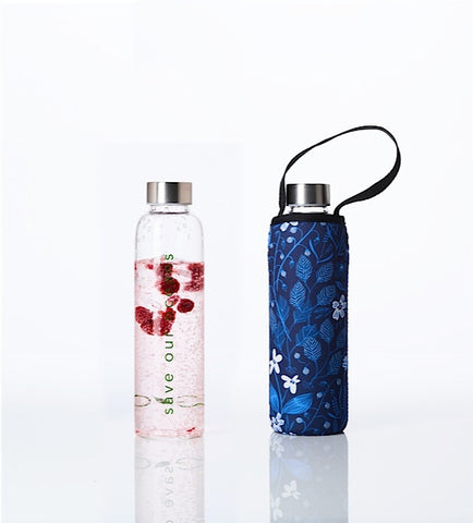* Super Sale - Glass is Greener + carry cover - 570 ml - Bloom print