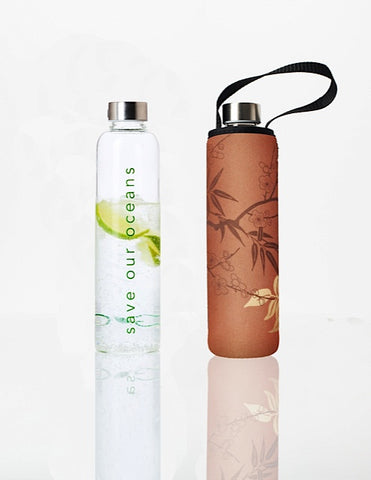 Glass is Greener + carry cover - 750 ml - Bamboo print