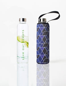 Glass is Greener + carry cover - 750 ml - Cubic print
