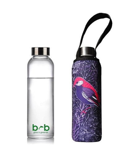 "Glass is Greener bottle + carry cover ""Chirp""  - 570 ml -19 oz"