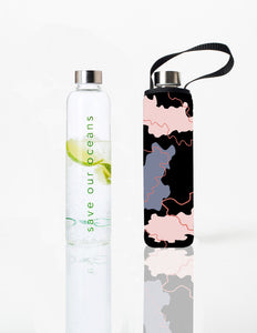 Glass is Greener + carry cover - 1000 ml - Continents print