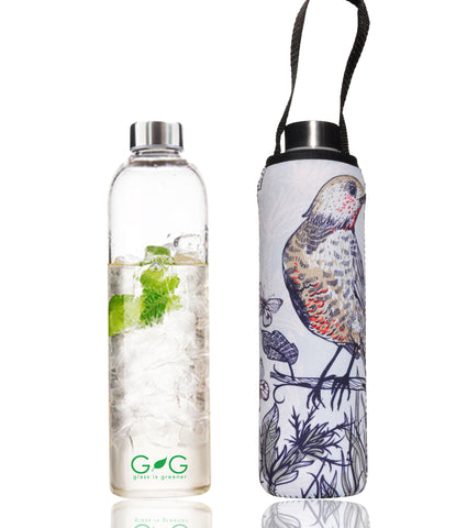 * Super Sale - BBBYO - Carry cover - for 750 ml Glass is Greener bottle - Perch print