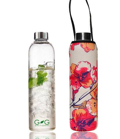 "Glass is Greener bottle + carry cover ""Stem"" - 750 ml"