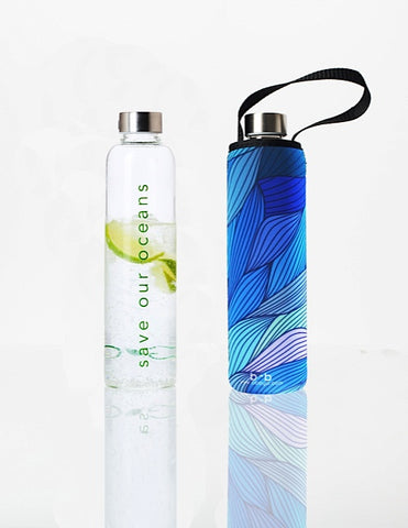 Glass is Greener + carry cover - 750 ml - Tide print