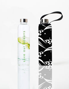 Glass is Greener + carry cover - 1000 ml - Wave print