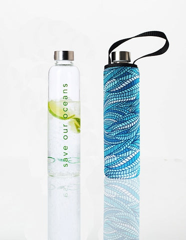 * Super Sale - Glass is Greener + carry cover - 750 ml - Sealeaf print