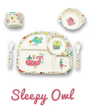 * Super Sale - Bambu - 5 piece mealtime set - Sleepy Owl