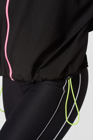 Full Zip Windbreaker in Black / Neon Streak