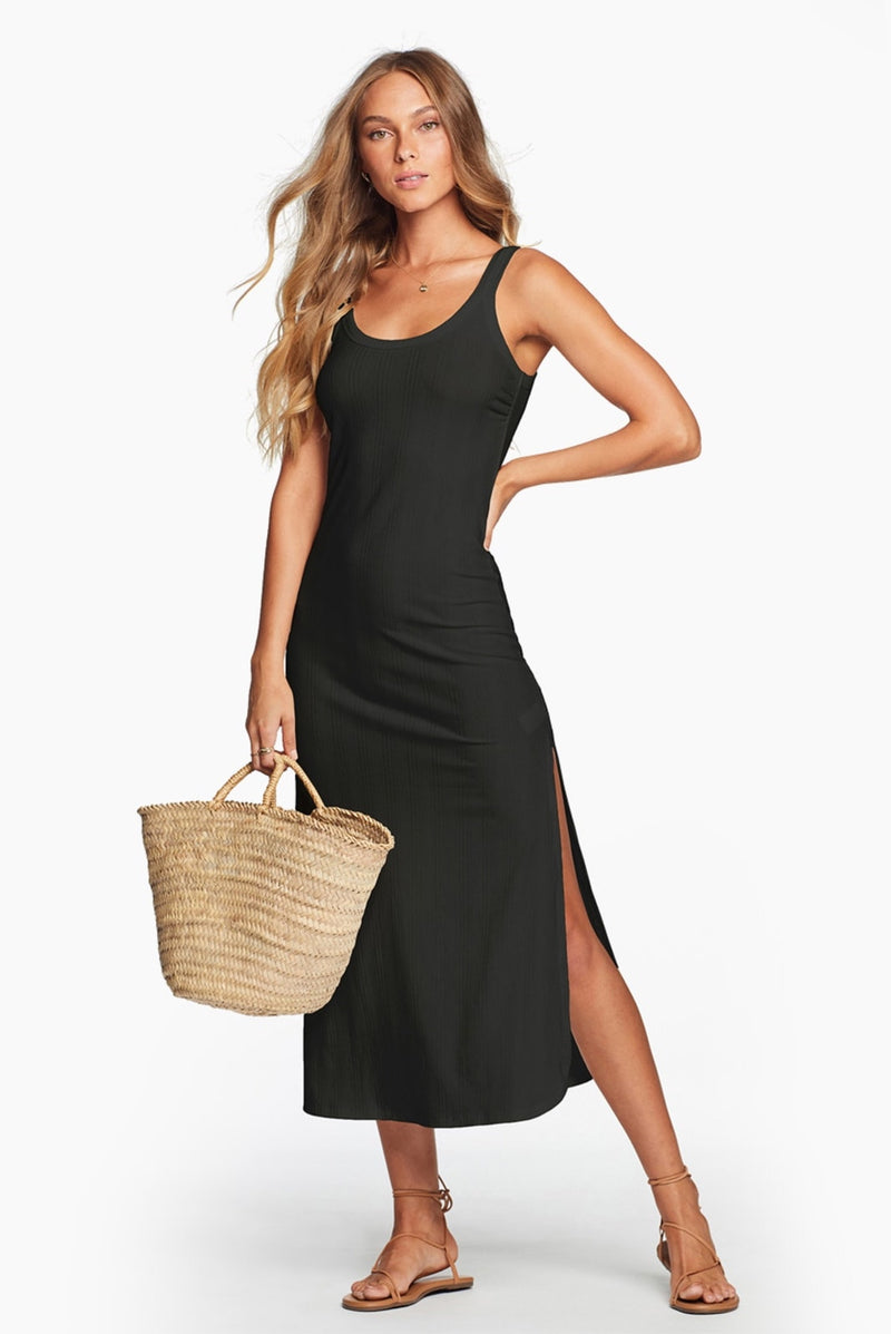 West Dress Black Organic Rib