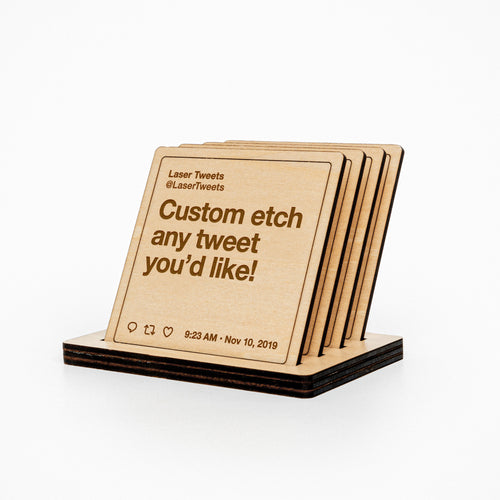 Wooden Etched Tweet Coasters