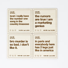 Load image into Gallery viewer, Lil Nas X Tweets Wooden Coasters: Set #1