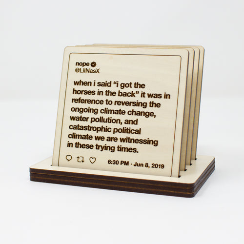 Lil Nas X Tweets Wooden Coasters: Set #2