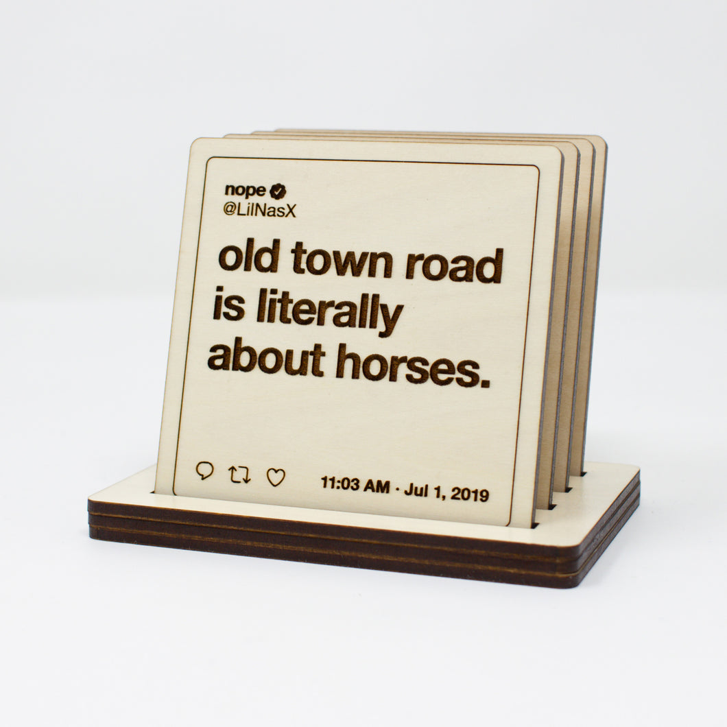 Lil Nas X Tweets Wooden Coasters: Set #3