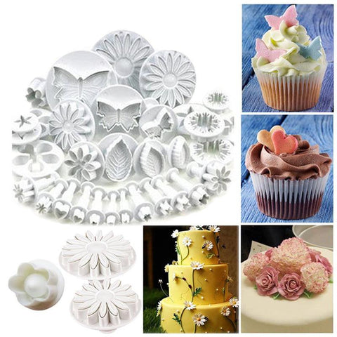 1/33pcs Sugarcraft Cake Decorating Tools Fondant Plunger Cutters Cake Tools Cookie Biscuit Cake Mold Bakeware Accessories