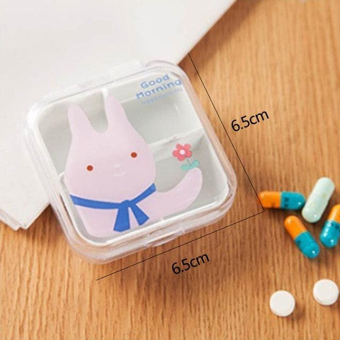 1 PC Portable Vitamin Tablet Case Cartoon Pill Box Plastic Food Organizer  Non-toxic Medicine Storage Boxes