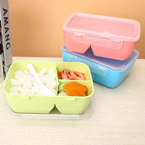 Image of 1 PCS Healthy Plastic Food Container Portable Lunch Box With Spoon Capacity Camping Picnic Food Fruit Container Storage Box