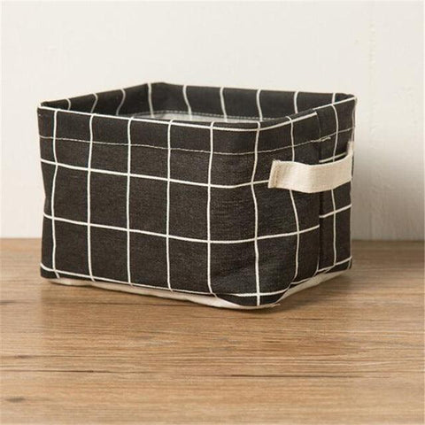 1 Pc Printing Cotton Linen Desktop Storage Organizer Sundries Storage Box Cabinet Underwear Storage Basket cartoon