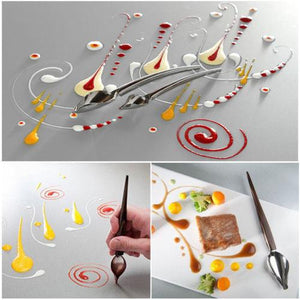 1 Pcs Creative Deco Spoon Decorate Food Draw Tool Design Sauce Dressing Plate Dessert Bakeware Cake Spoons Tools