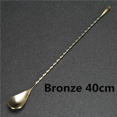 1 Piece Stainless Steel Mixing Cocktail Spoon, Spiral Pattern Bar Teadrop Spoon Stir Spoon Bar Tool Bartender Tools