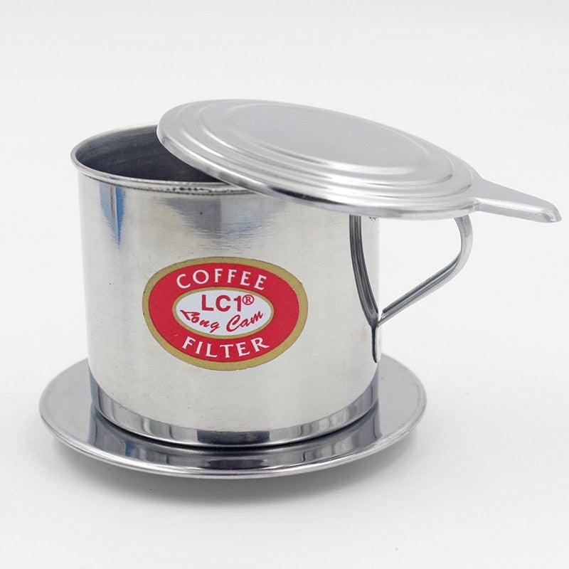 1 Set 5.5 x 6.5cm Stainless Steel Vietnamese Drip Coffee Filter Maker Pot Infuser For Office Home Traveling K0393