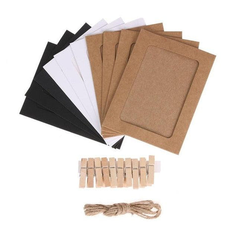 Image of 10 Pcs DIY Kraft Paper Photo Frame 3-7 inch Hanging Wall Photos Picture Frame Kraft Paper With Clips and Rope For Family Memory