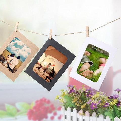 10 Pcs DIY Kraft Paper Photo Frame 3-7 inch Hanging Wall Photos Picture Frame Kraft Paper With Clips and Rope For Family Memory