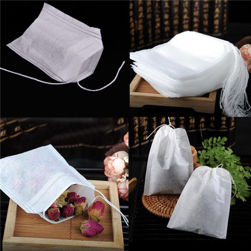 100Pcs/Lot 5.5 x 7CM Teabags Empty Scented Tea Bags With String Heal Seal Filter Paper for Herb Loose Tea