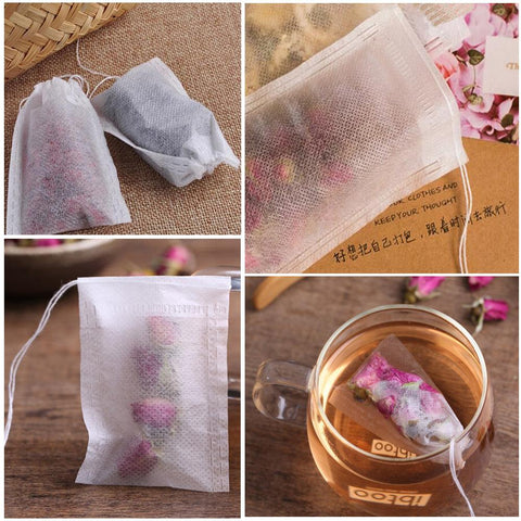 Image of 100Pcs/Lot Teabags Empty Scented Tea Bags With String Heal Seal Non-Woven Fabric