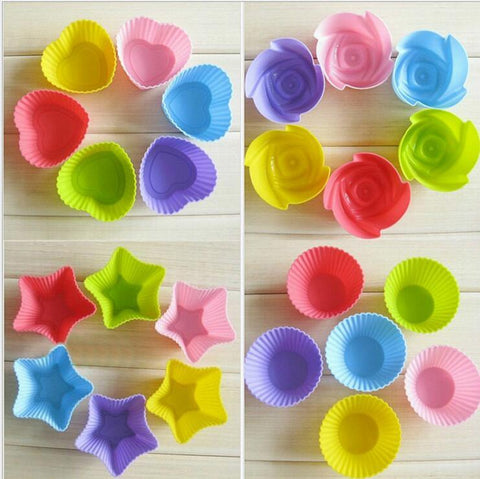 Image of 10pcs Silicone Mold Heart Cupcake Soap Silicone Cake Mold Muffin Baking Mold Tools Bakery Pastry Tools Bakeware Kitchen